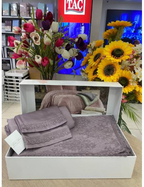 EMİRGAN  LİLA  pike Gelin Home   Набор с покрывалом 2-спальный Сатин Делюкс из 4-x предметов