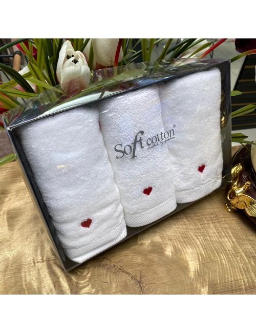 Полотенца «Love kirmizi» (3 шт.) Soft Cotton 30Х50 см.