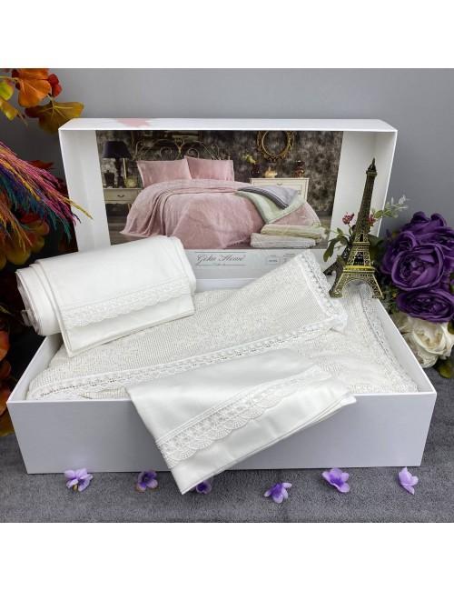 EMİRGAN  KREM pike Gelin Home   Набор с покрывалом 2-спальный Сатин Делюкс из 4-x предметов