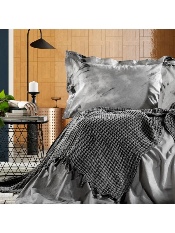 Zebra Casa - Loft (Antrasit) Шикарный набор КПБ c жатым покрывалом из 100% хлопка