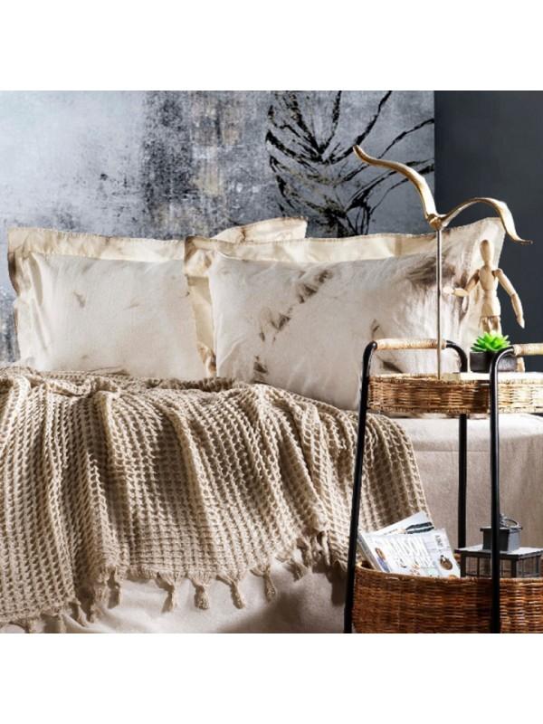 Zebra Casa - Loft (Bej) Шикарный набор КПБ c жатым покрывалом из 100% хлопка