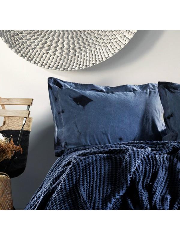 Zebra Casa - Loft (Lacivert) Шикарный набор КПБ c жатым покрывалом из 100% хлопка