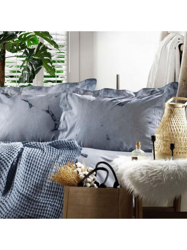 Zebra Casa - Loft (Mavi) Шикарный набор КПБ c жатым покрывалом из 100% хлопка