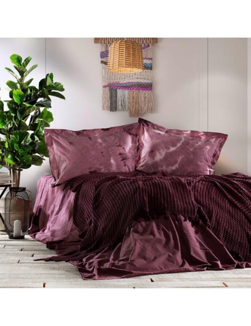 Zebra Casa - Loft (Mürdüm) Шикарный набор КПБ c жатым покрывалом из 100% хлопка