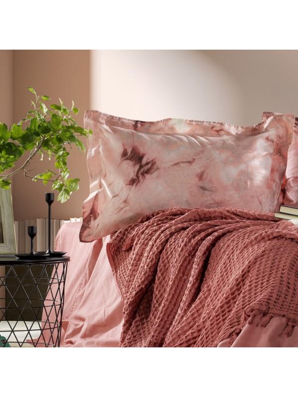 Zebra Casa - Loft (Nar Çiçeği) Шикарный набор КПБ c жатым покрывалом из 100% хлопка