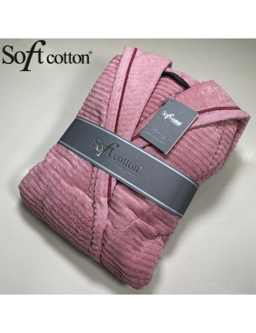 Халат Женский Soft Cotton Stripe Lady Fusya хлопковая махра