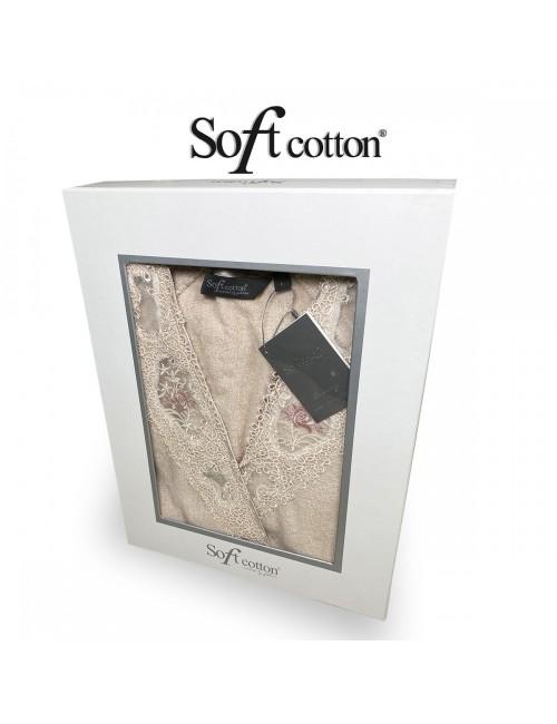 Халат Женский Soft Cotton DESTAN хлопковая махра Gul kurusu
