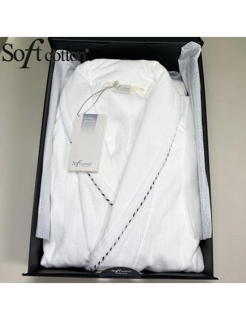Халат мужской Soft Cotton SHARP Beyaz хлопковая махра