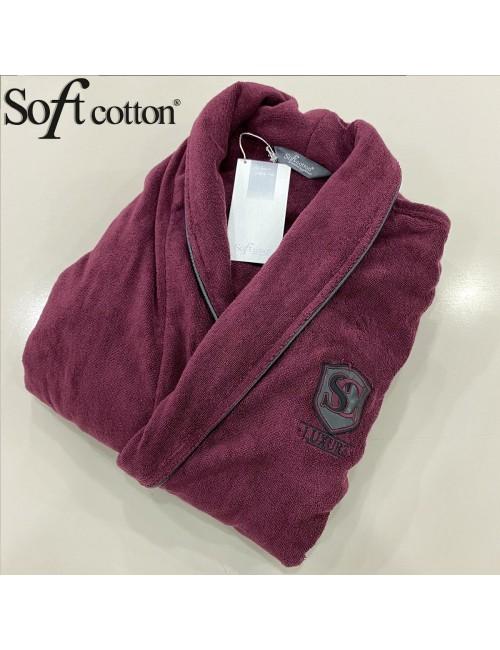 Халат мужской Soft Cotton LUXURE Bordo хлопковая махра